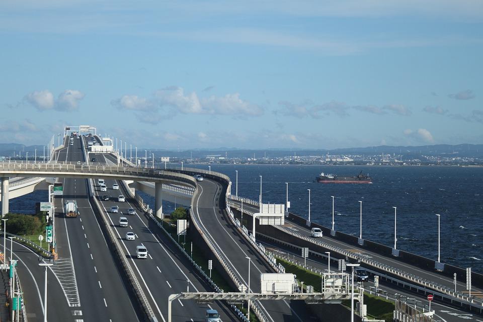 高速道路、海、東京、旅行、道路、橋