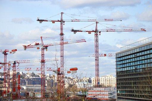 Crane, Building, Work, City, Urban