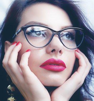 女の子、かわいい、不思議、ファッション、メガネ