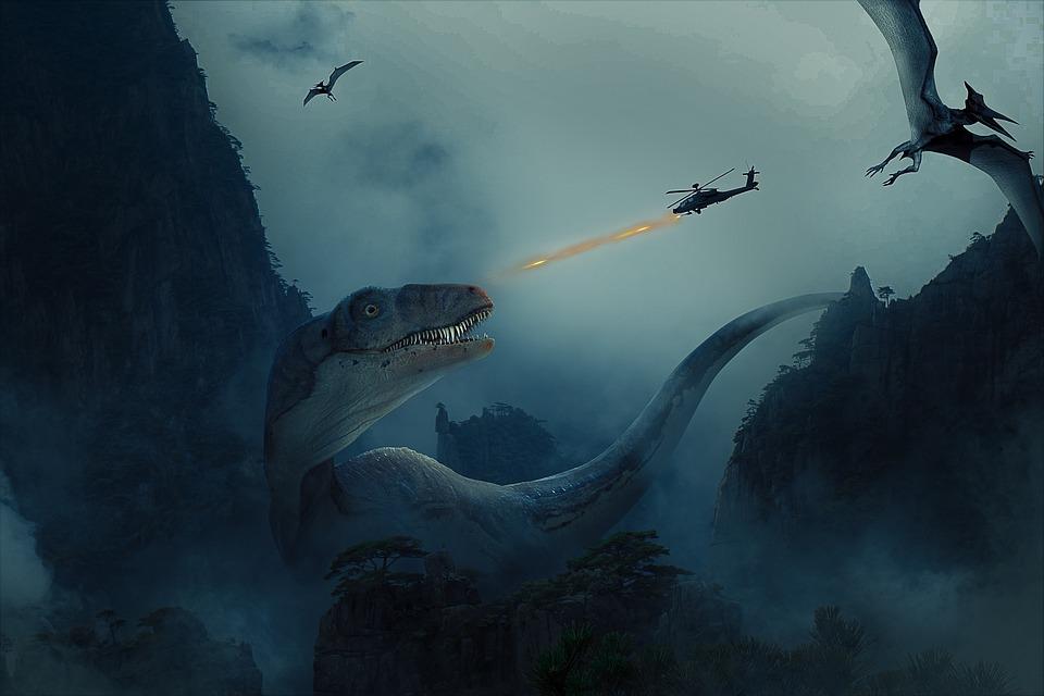 Dinosaurus, Boj, Evoluce, Fantazie, Město, Minulosti