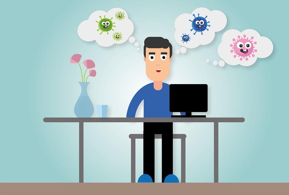 ホーム オフィス, コロナ, 宿題, 遠隔作業, Covid-19, 検疫, コンピューター, ウイルス
