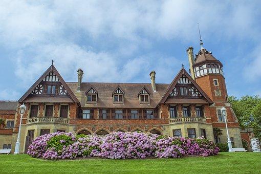 풍경, Mansion, 꽃, 아키텍처, 하늘, 구름, 역사
