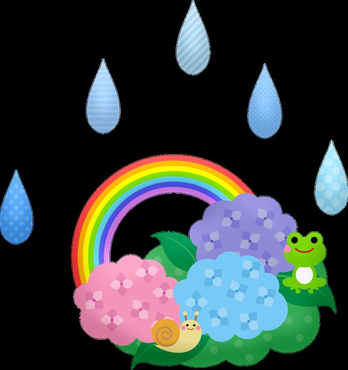 Kawaii Frogs, Rain, Japanese, Snail, Rainbow, Raindrops