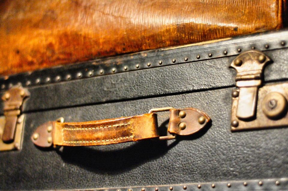 Suitcase, Old, Vintage, Train, Leather, Handle, Metal