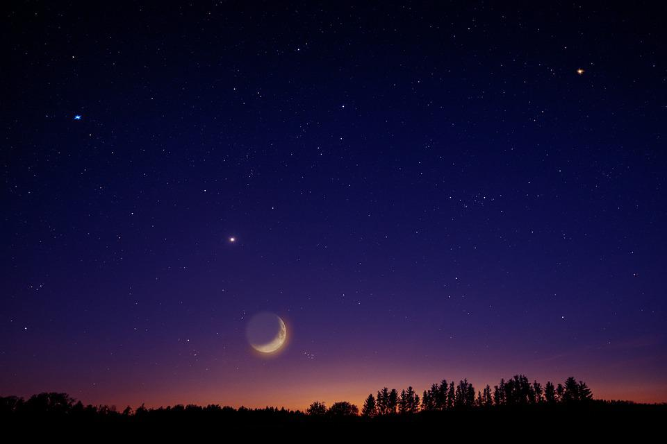 Cielo, Estrella, Luna, Venus, Universo, Noche