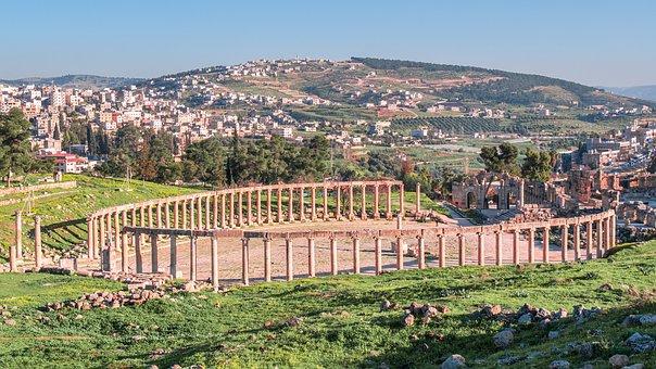 Gerasa, Jerash, Ovale Forum, Romeinse
