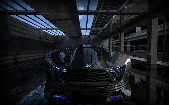 Estúdio, carro, conceito, veículo, velocidade