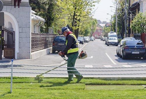 男, 労働者, スーツ, 保護, 草刈り, 草, 芝, 車, モーター