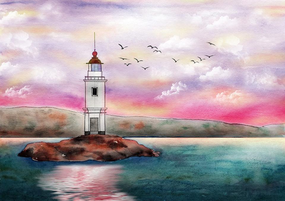 Lighthouse, Sea, Ocean, Beach, Sky, Nature, Coast