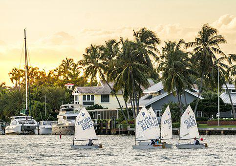 Sailboats, Sunset, Sailing, Boat, Ocean