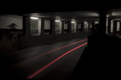 トンネル, 地下道, 光, 長期暴露, 通路, 暗い, アーキテクチャ, 道路