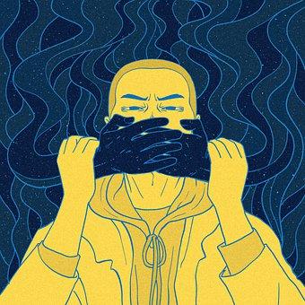 Karikatur, Malerei, Schweigen, Mund