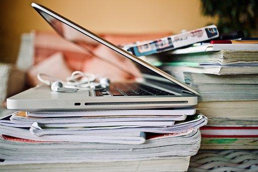 コンピューター, 学校, イヤホン, ブック, ノート, 教育, ポータブル