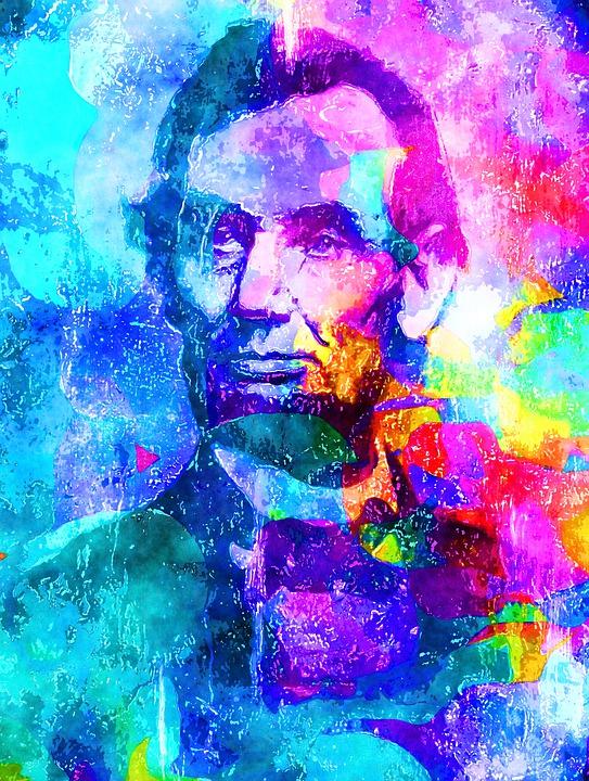 男子, 男, 人, 肖像, 胡子, 水彩, 漆, 艺术, 创意, 效果, 那些, 亚伯拉罕, 林肯, 总统