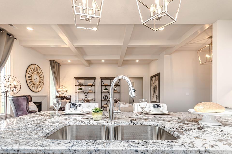 Kitchen, Island, Sink, Counter, Home, Modern