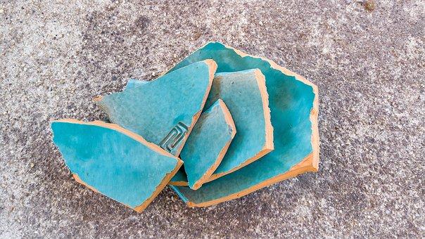 Blue, Broken, Ceramics, Decor, Ceramic
