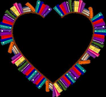 Bookshelves, Frame, Heart, Love, Passion