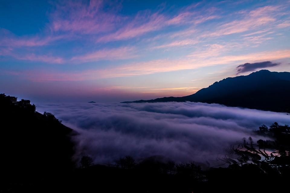 中国, 雲南省, 山, 自然, 風景, 観光, 風光明媚な, 空, 旅行, 環境, 日照, 青, アジア
