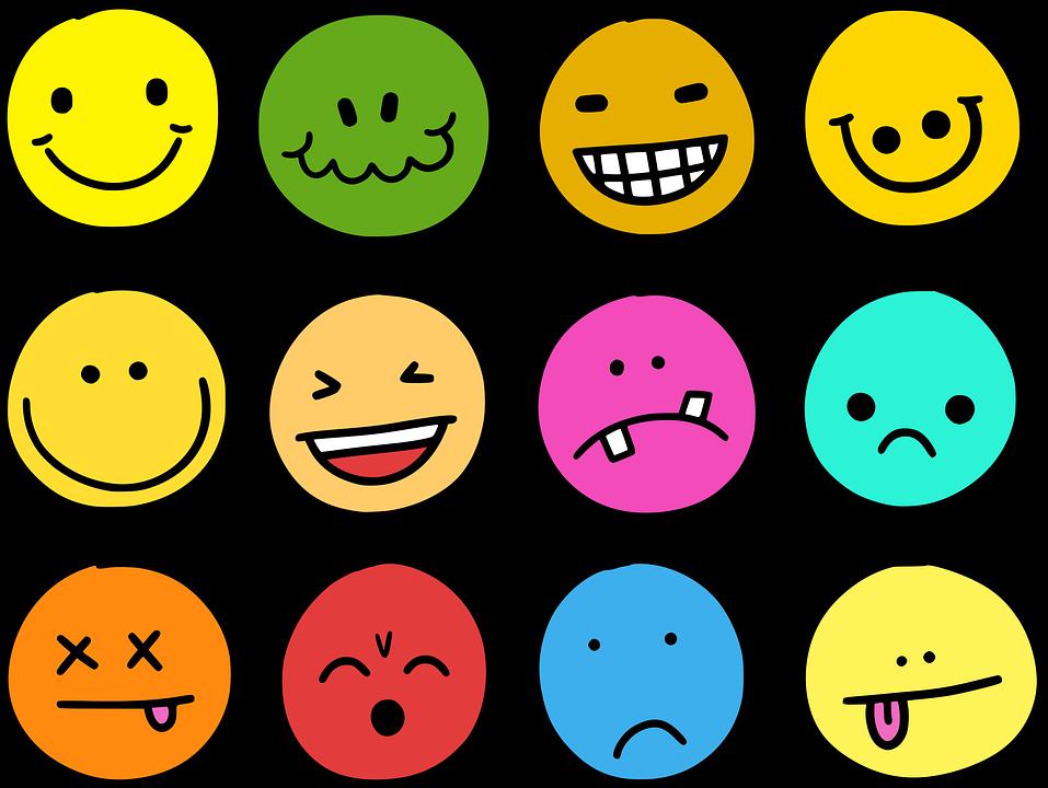 Emocje, Emoji, Emotikony, Ikony, Komiks, Buźka, Twarz
