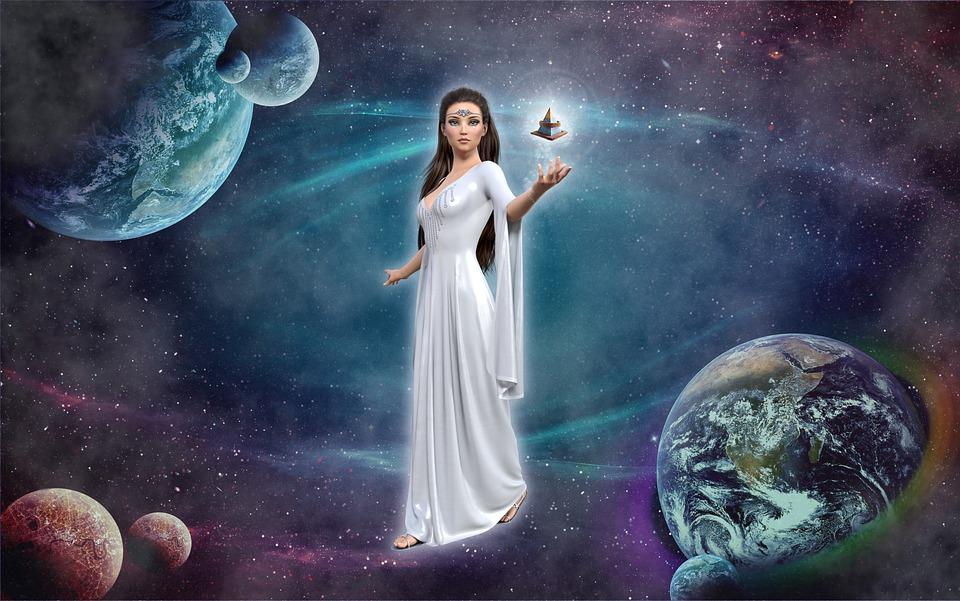 Vrouwen, Fantasie, Planeten, Universum, Piramide
