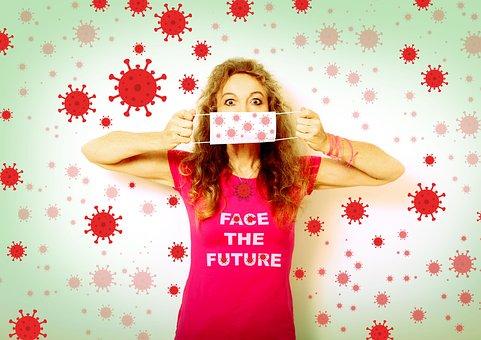 コロナ, 顔の未来, 口ガード, マスク, 保護マスク, ウイルス, 女性