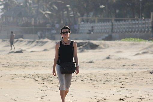 Walking, Beach, Ocean, Sand, Sunset