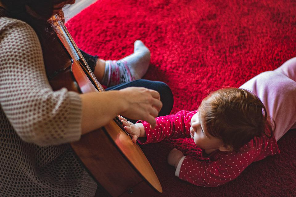 Toddler, Guitar, Mother, Red, Love, Mom, Baby, Family