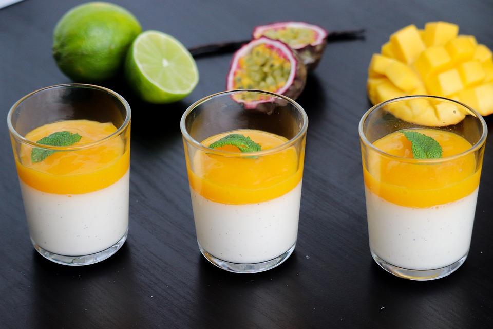 Panna Cotta, Frutas Exóticas, Fruta De La Pasión, Mango