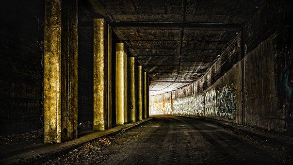 Terowongan, Jalan, Melengkung, Gelap