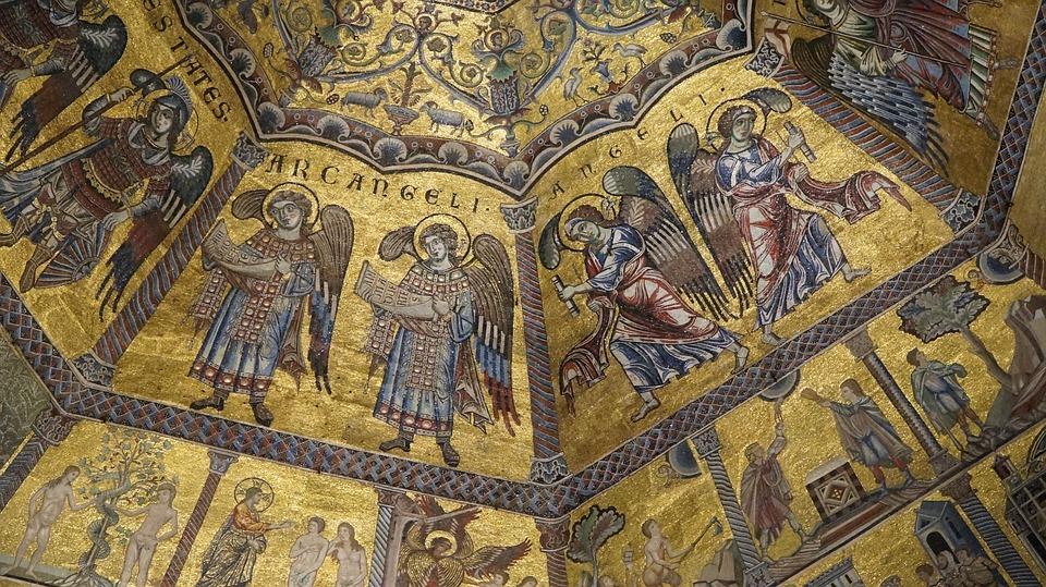 Florence, Italie, Tuscany, Baptistère, Plafond, Angels