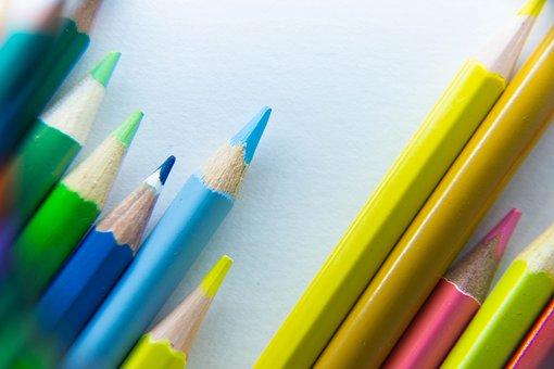 色鉛筆, カラフルです, 色, 木材, 黄色, 学校, 学校用品