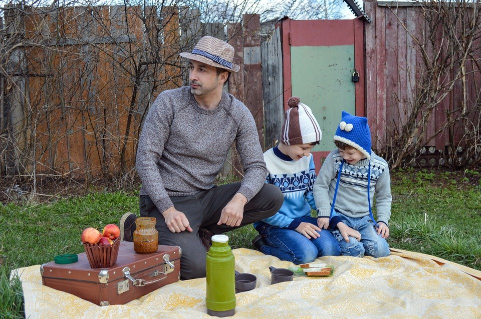 Family, Father, Kids, Picnic, Thermos, Snack, Food