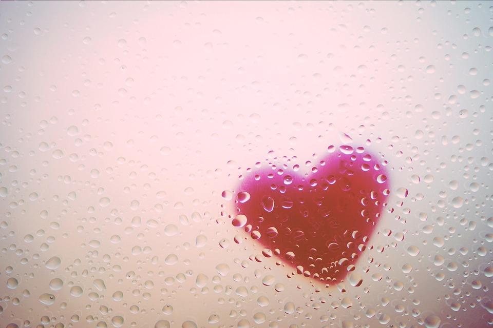 Corazón, Ventana, Lluvia, Gotas, Amor, Romántico