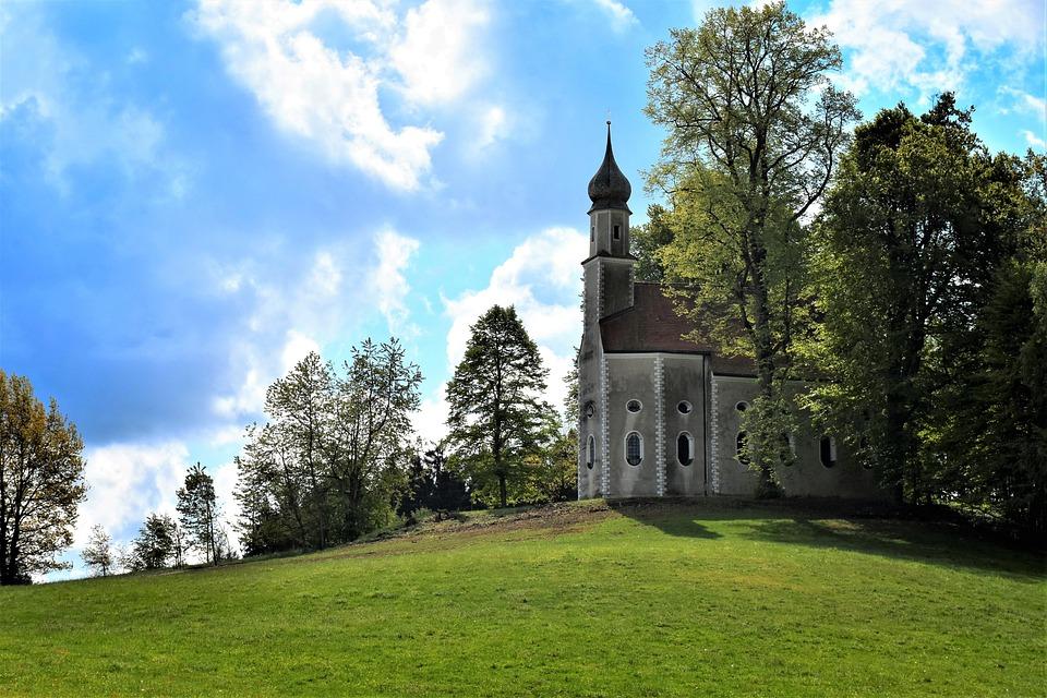 教会, カトリック, 信仰, 宗教, アーキテクチャ, 神聖な, キリスト教の, 建物, 牧歌的な, 農村