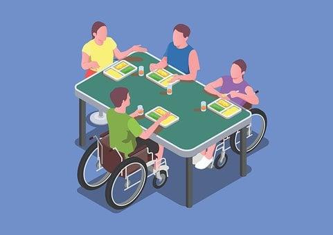 統合, 特別なニーズ, 多様性, 相互作用, 障害者, 椅子, ホイール, ケア