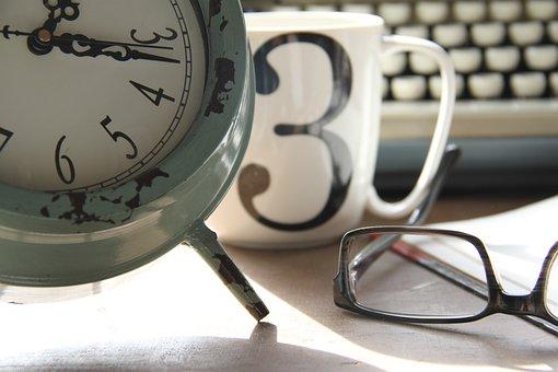 時間, 仕事, クロック, コーヒー, 計画, ホーム, オフィス, 書き込み