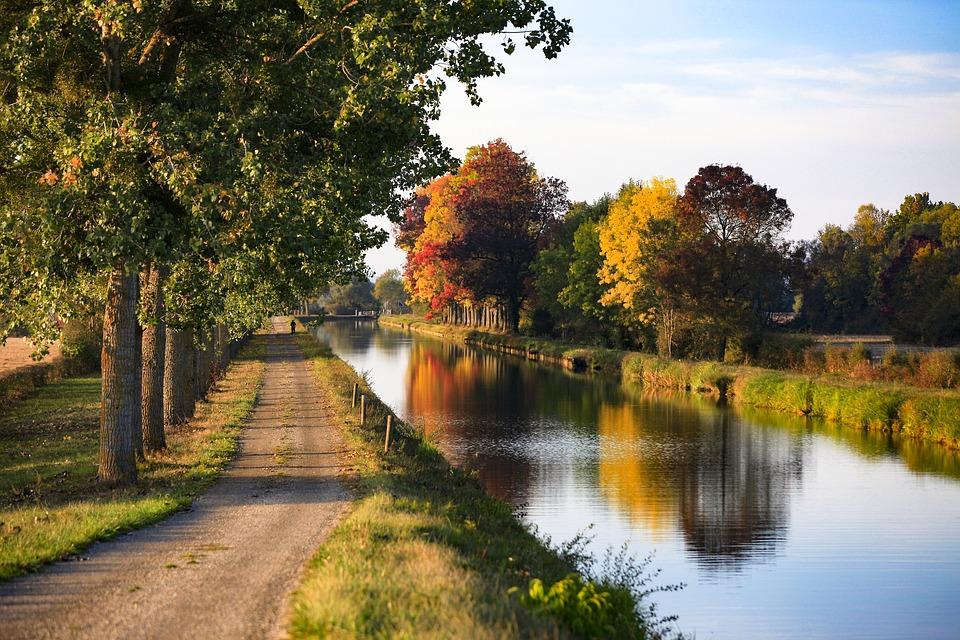 Canal, France, L'Eau, Nature, Voyage, Réflexions