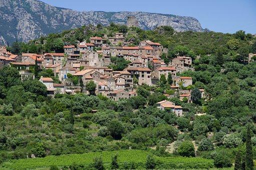 Hérault, Village, Médiéval, Falaises