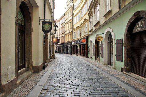 プラハ, ストリート, 古い, 空白, の市, 観光, ない, 観光客