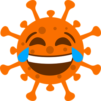 Corona, Lachen, Orange, Emoji, Icon