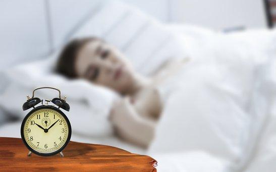 クロック, ベッド, 眠っている, 女性, 朝, 時間, アラーム, 居眠り