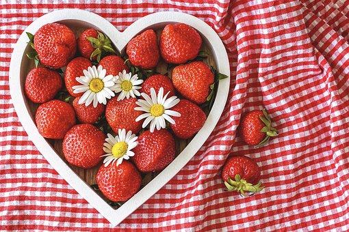Strawberries, Ripe, Heart, By Heart
