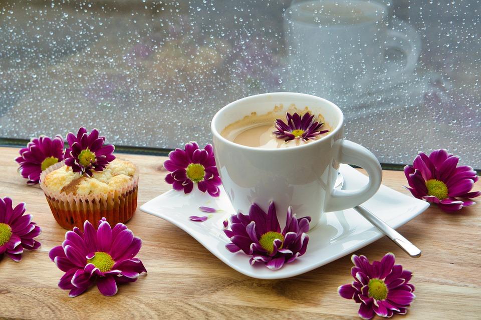 雨, コーヒー, マフィン, コーヒー タイム, 雨の日, カップ, コーヒーカップ, 花, 雨滴