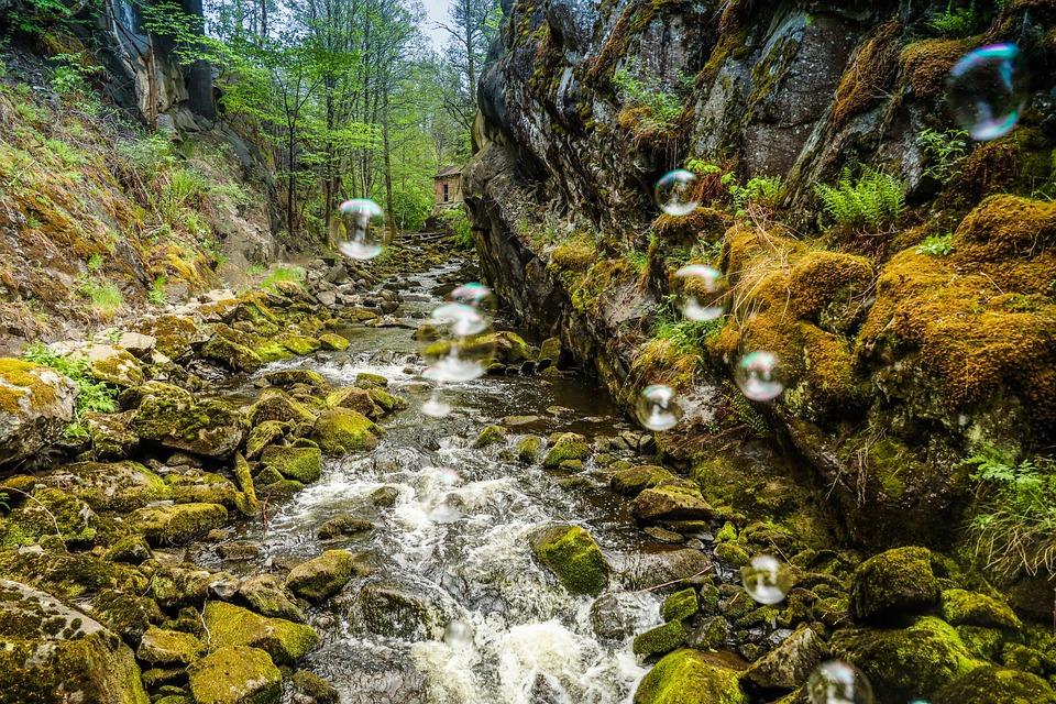 シャボン玉, 魔法, 川, 水, 自然