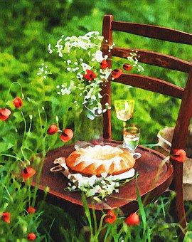 Aquarell, Picknick, Wein, Kuchen