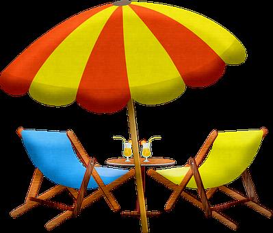 Strand-Möbel, Regenschirm, Stuhl