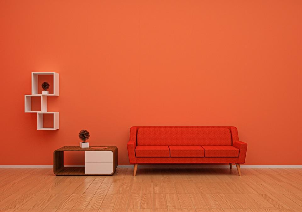ソファ, オレンジ, クッション, 家具