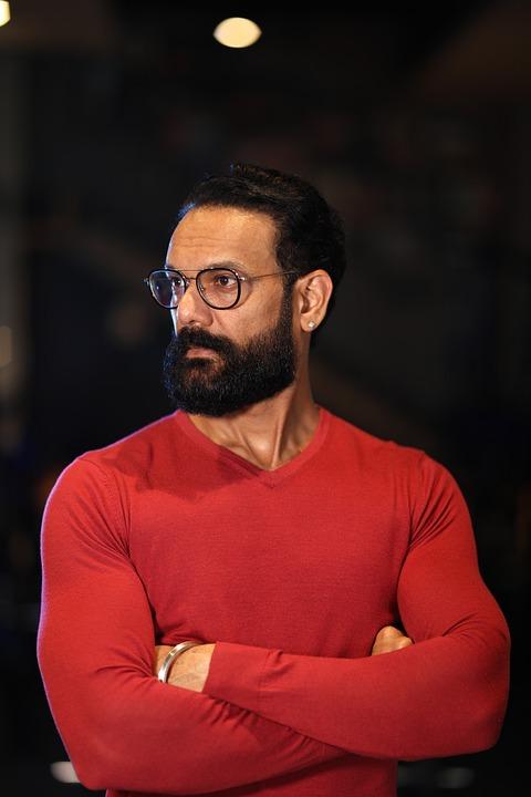 Beard, Bearded, Man, Portrait, Male, Indian, Red
