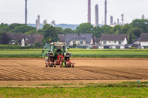 Tractor, Fields, Chimneys, Fireplaces