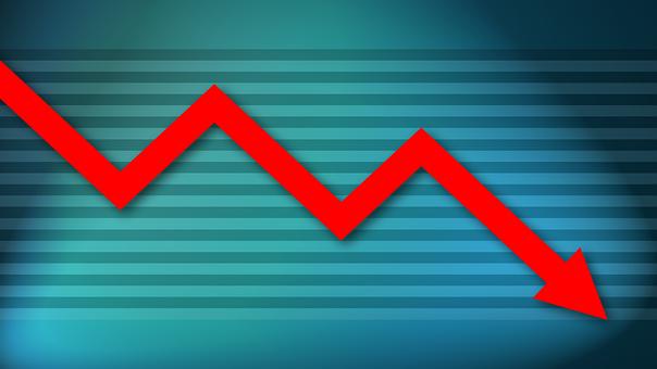 チャート, 危機, 曲線, ダウン, 損失, 経済, 金融, 雇用, 赤